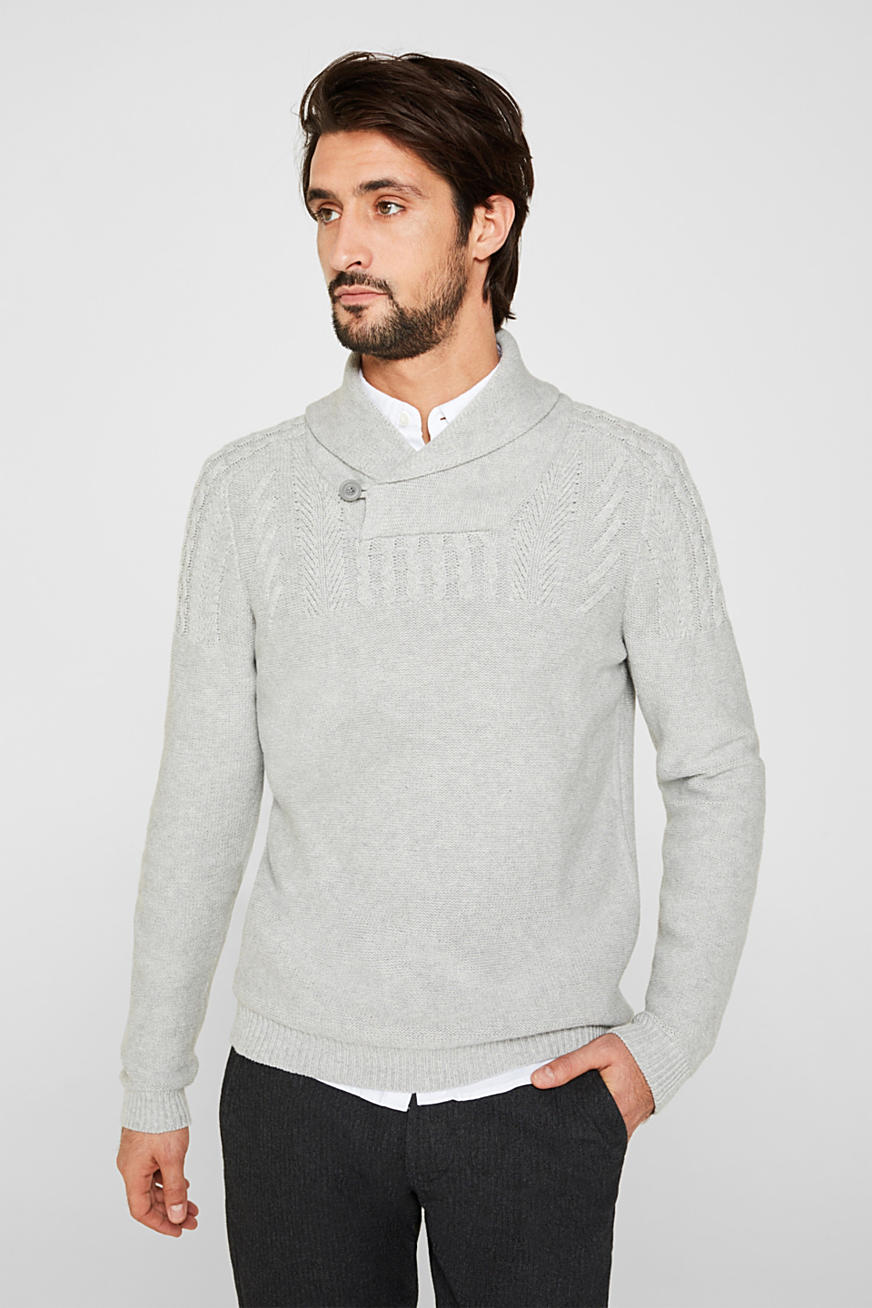 Wool blend: button/zip neck with a cable knit