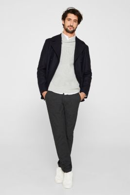 Wool blend: button/zip neck with a cable knit, LIGHT GREY 5, detail