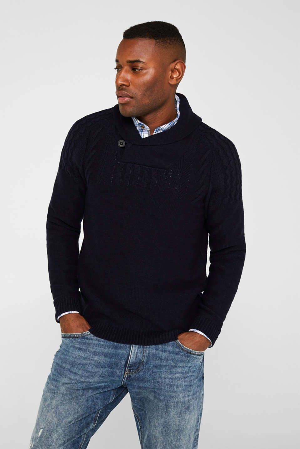 Esprit - Wool blend: button/zip neck with a cable knit