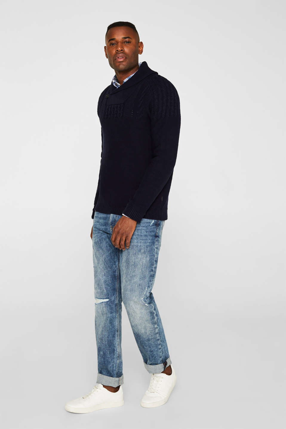 Wool blend: button/zip neck with a cable knit, NAVY, detail image number 1