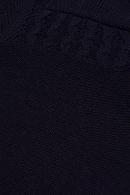 Wool blend: button/zip neck with a cable knit, NAVY, detail