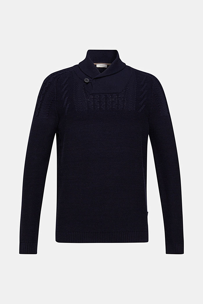 Wool blend: button/zip neck with a cable knit, NAVY, detail image number 0