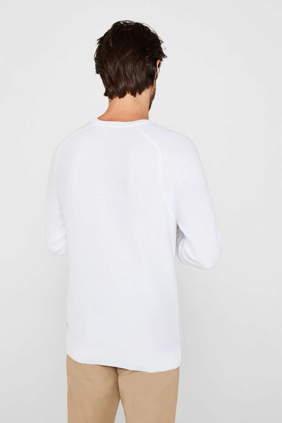 Textured jumper made of 100% cotton, WHITE, detail image number 3