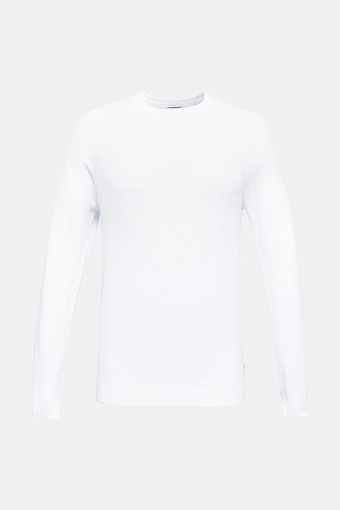 Textured jumper made of 100% cotton, WHITE, detail image number 0