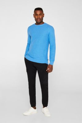 Textured jumper made of 100% cotton, BRIGHT BLUE 5, detail