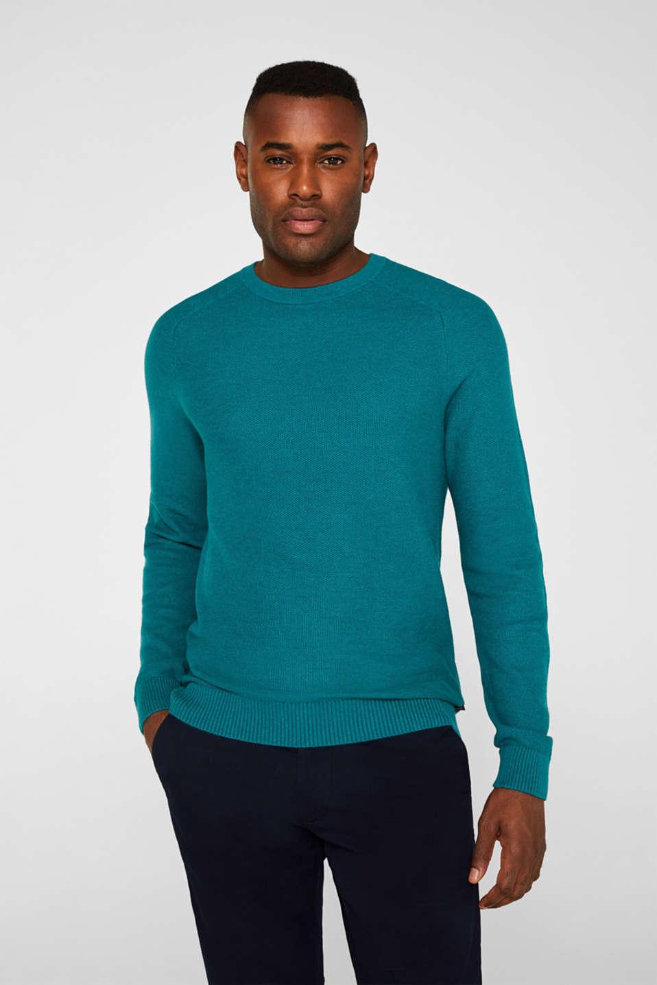 Textured jumper made of 100% cotton, TEAL BLUE 5, detail image number 0