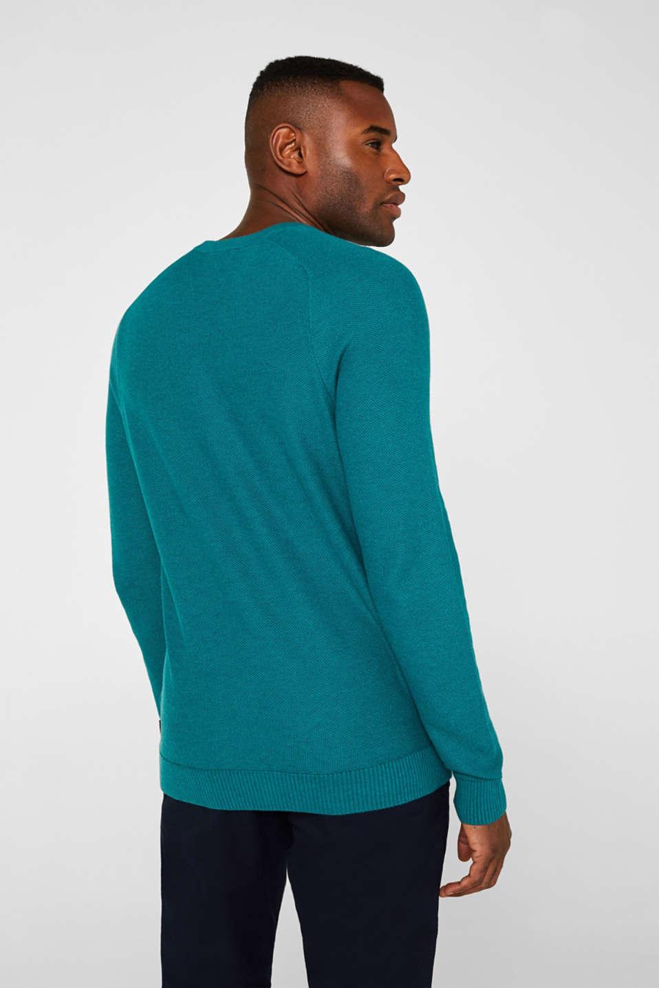 Textured jumper made of 100% cotton, TEAL BLUE 5, detail image number 3
