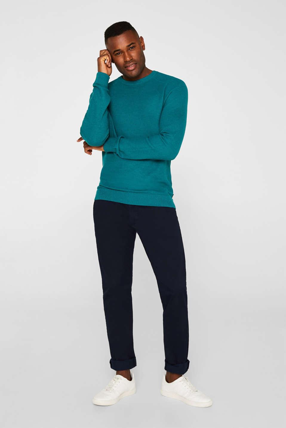 Textured jumper made of 100% cotton, TEAL BLUE 5, detail image number 1