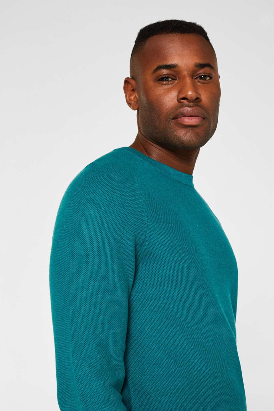 Textured jumper made of 100% cotton, TEAL BLUE 5, detail image number 5