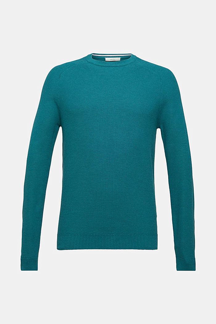 Gestructureerde trui van 100% katoen, TEAL BLUE 5, detail image number 0