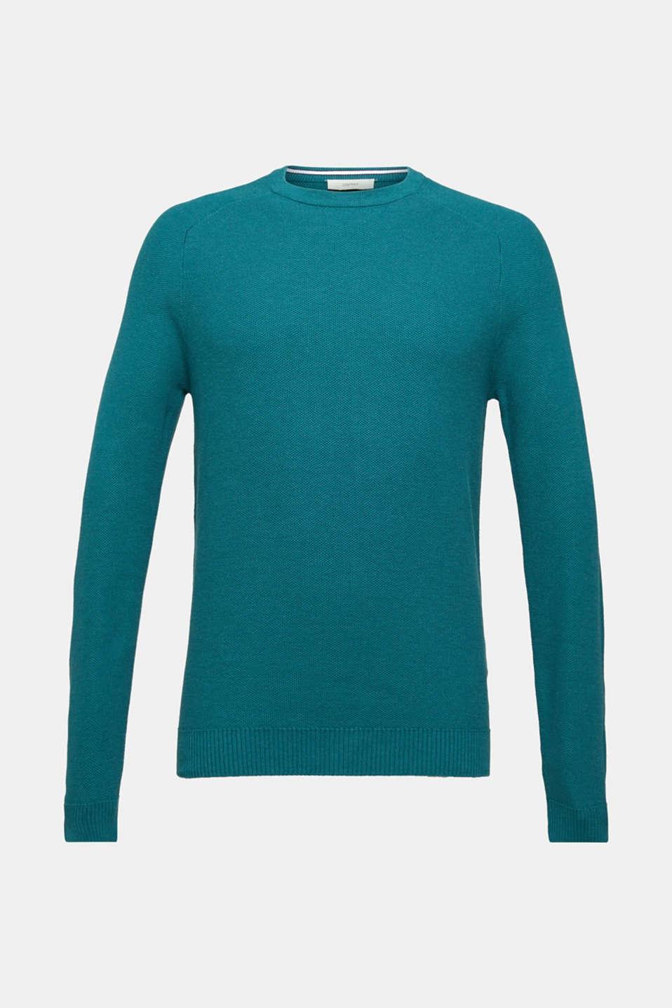 Textured jumper made of 100% cotton, TEAL BLUE 5, detail image number 6