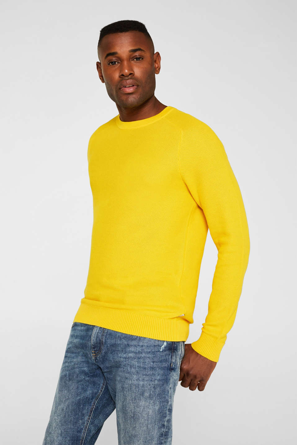 Textured jumper made of 100% cotton, YELLOW, detail image number 0