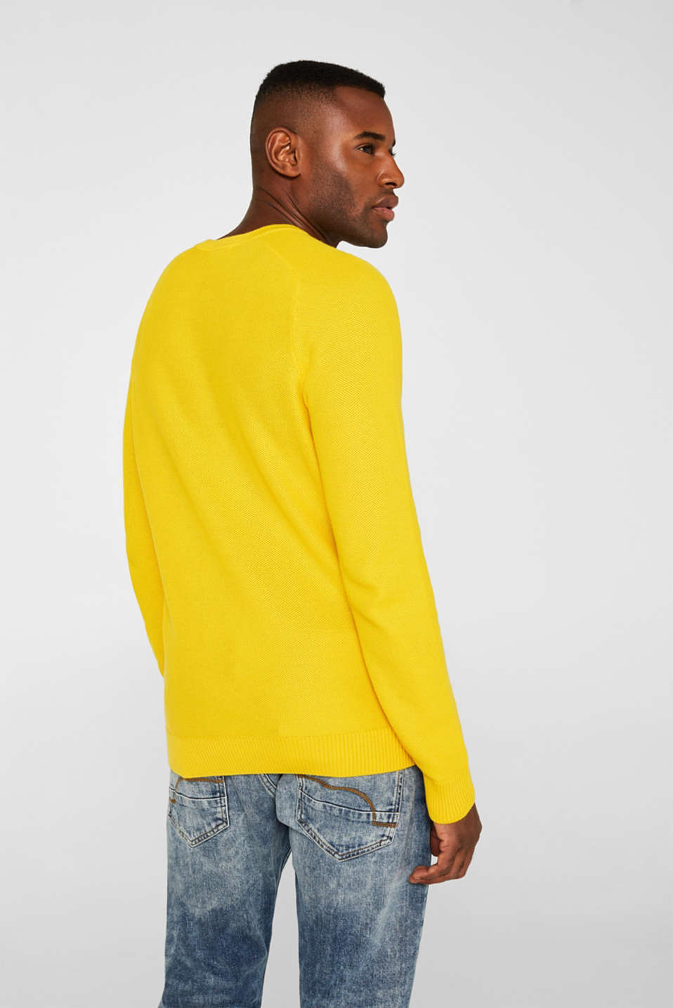Textured jumper made of 100% cotton, YELLOW, detail image number 3