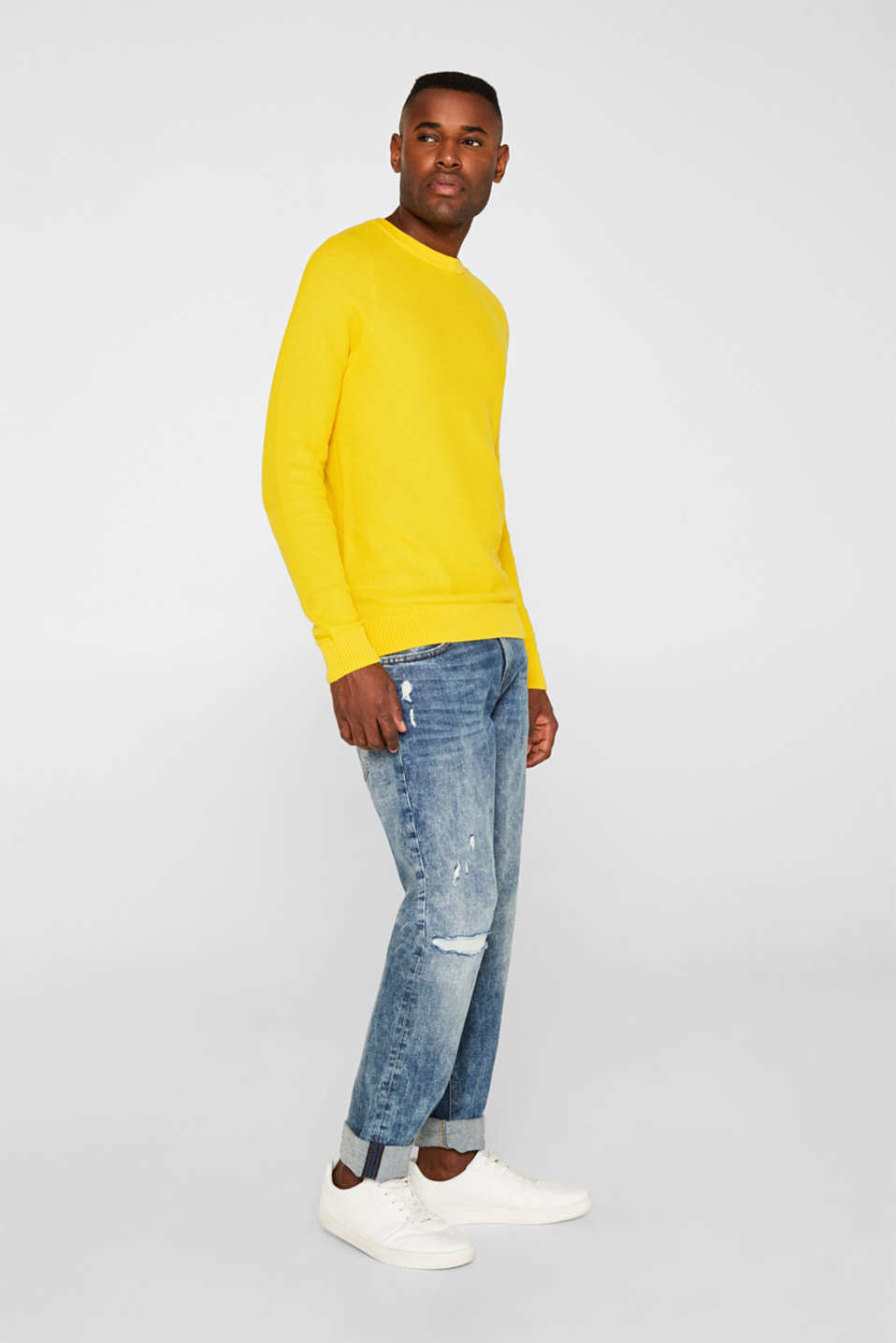 Textured jumper made of 100% cotton, YELLOW, detail image number 1