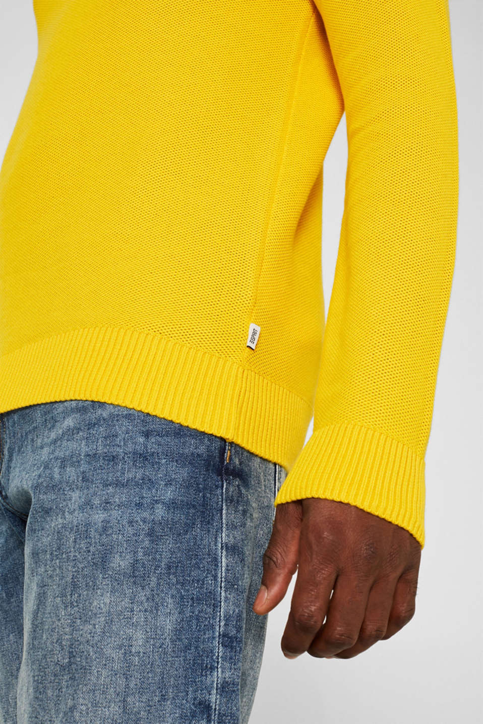 Textured jumper made of 100% cotton, YELLOW, detail image number 2