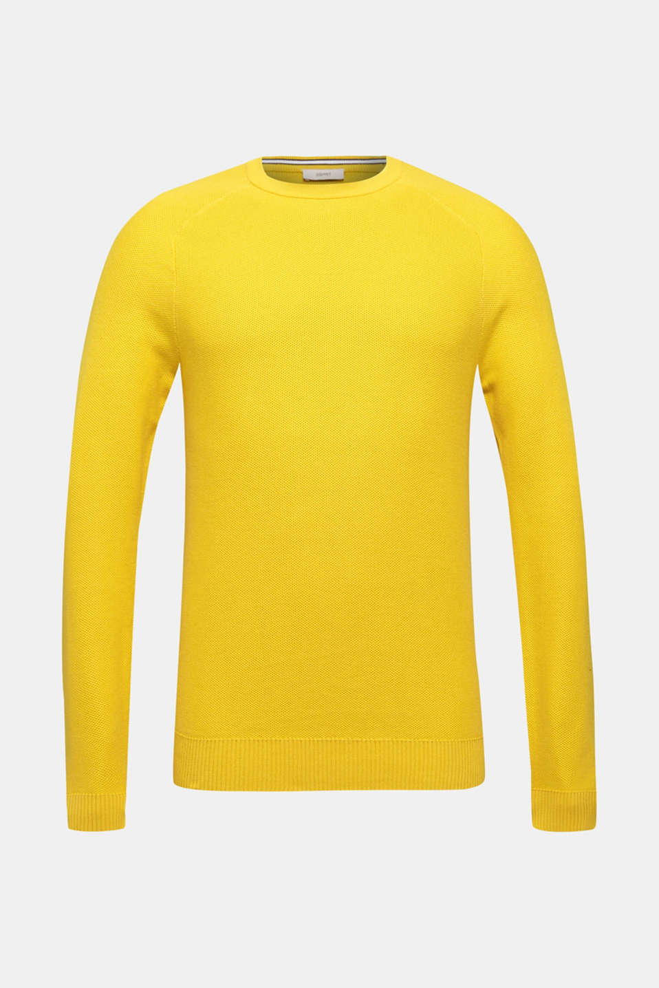 Textured jumper made of 100% cotton, YELLOW, detail image number 5