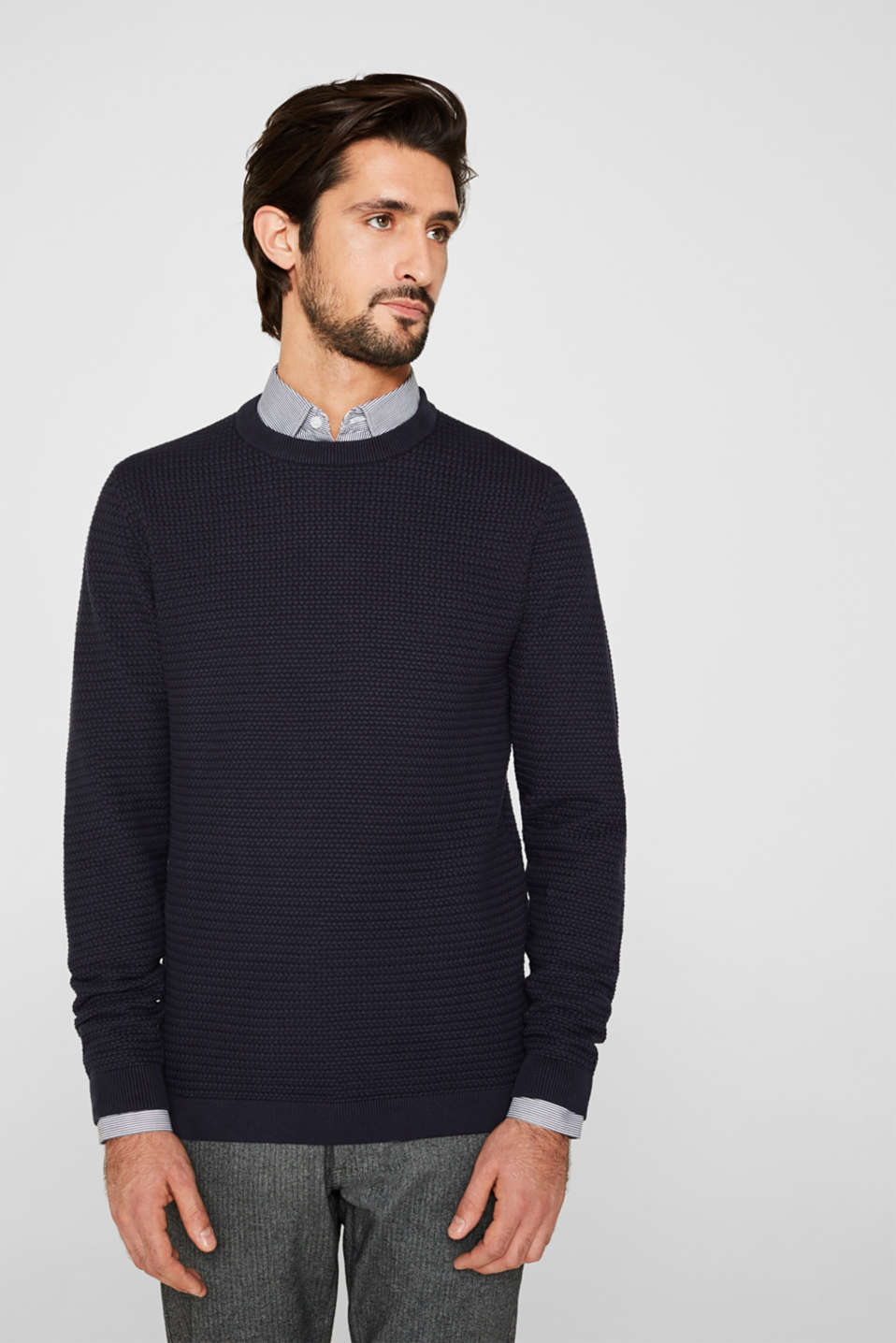 Esprit - Textured jumper made of 100% cotton