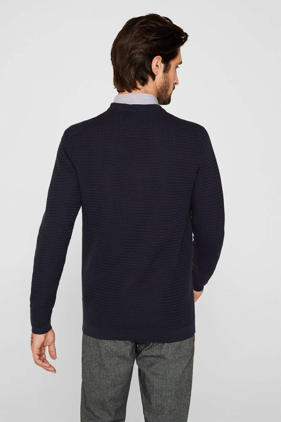 Textured jumper made of 100% cotton, NAVY, detail image number 3