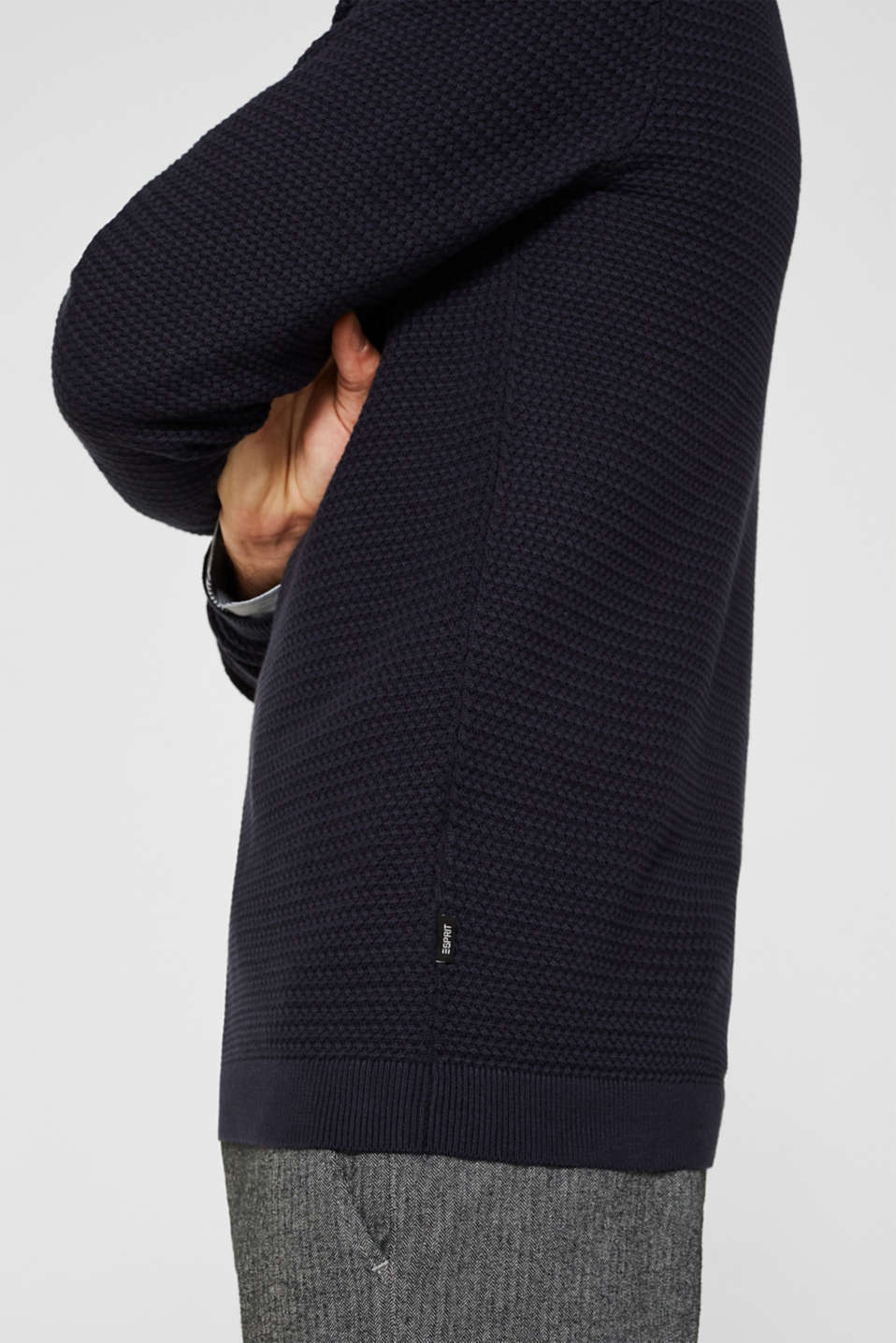 Textured jumper made of 100% cotton, NAVY, detail image number 2