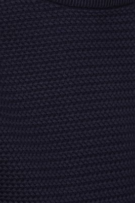 Textured jumper made of 100% cotton, NAVY, detail