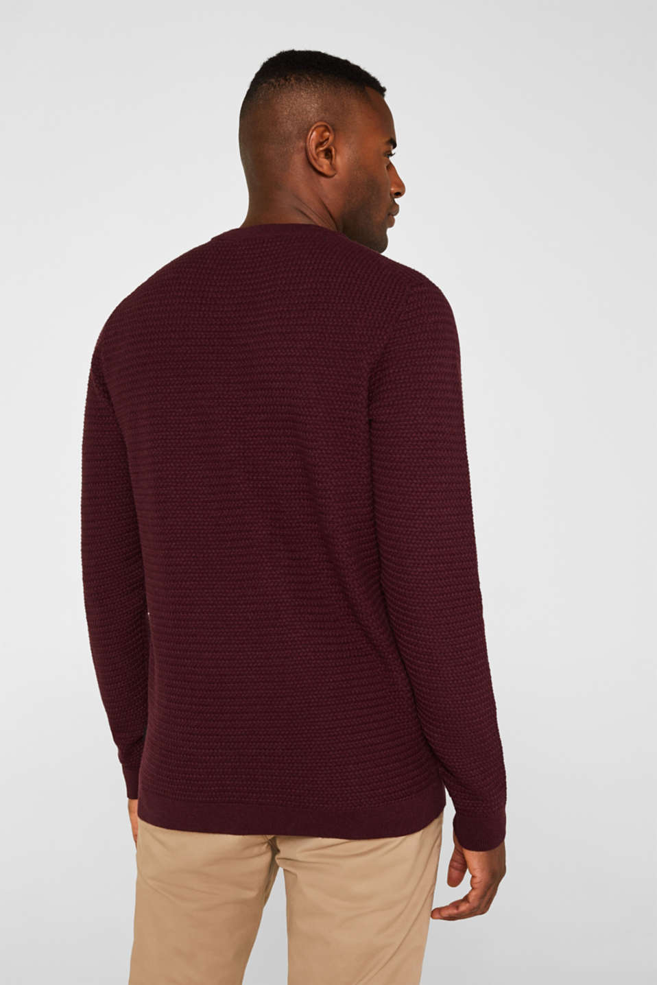 Textured jumper made of 100% cotton, BORDEAUX RED 5, detail image number 3