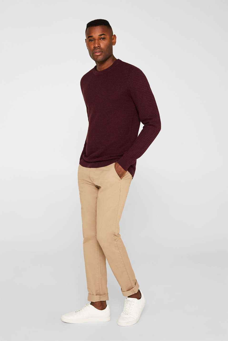 Textured jumper made of 100% cotton, BORDEAUX RED 5, detail image number 1