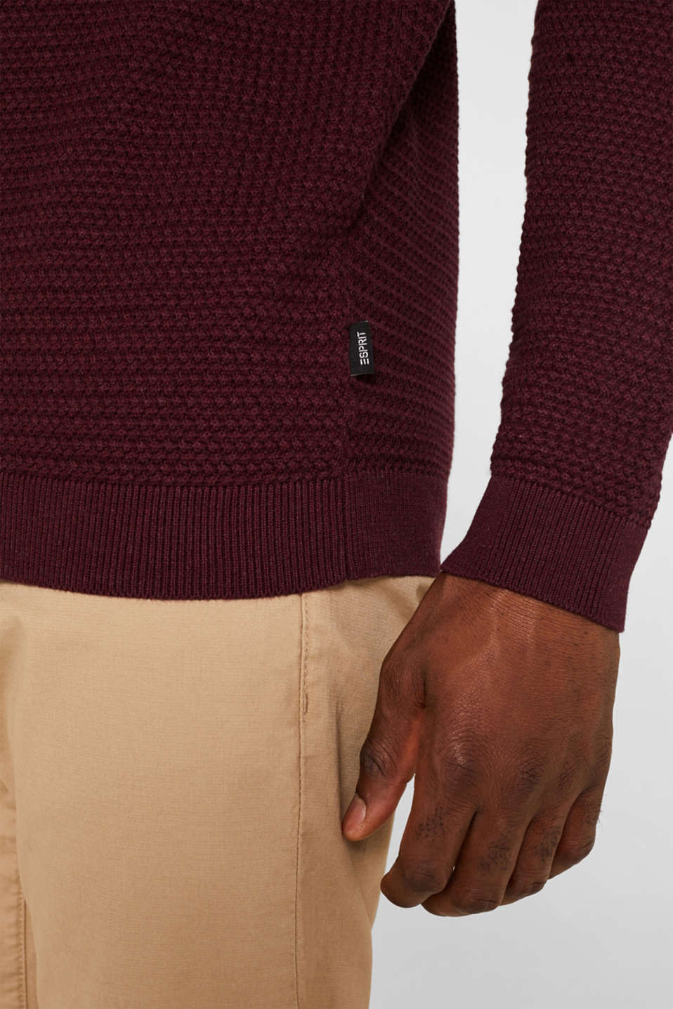 Textured jumper made of 100% cotton, BORDEAUX RED 5, detail image number 2