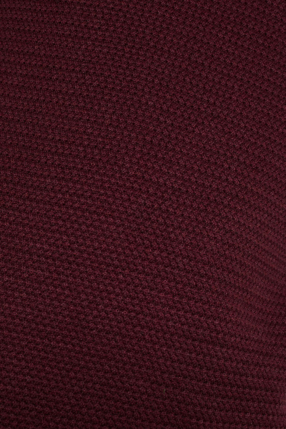 Textured jumper made of 100% cotton, BORDEAUX RED 5, detail image number 4