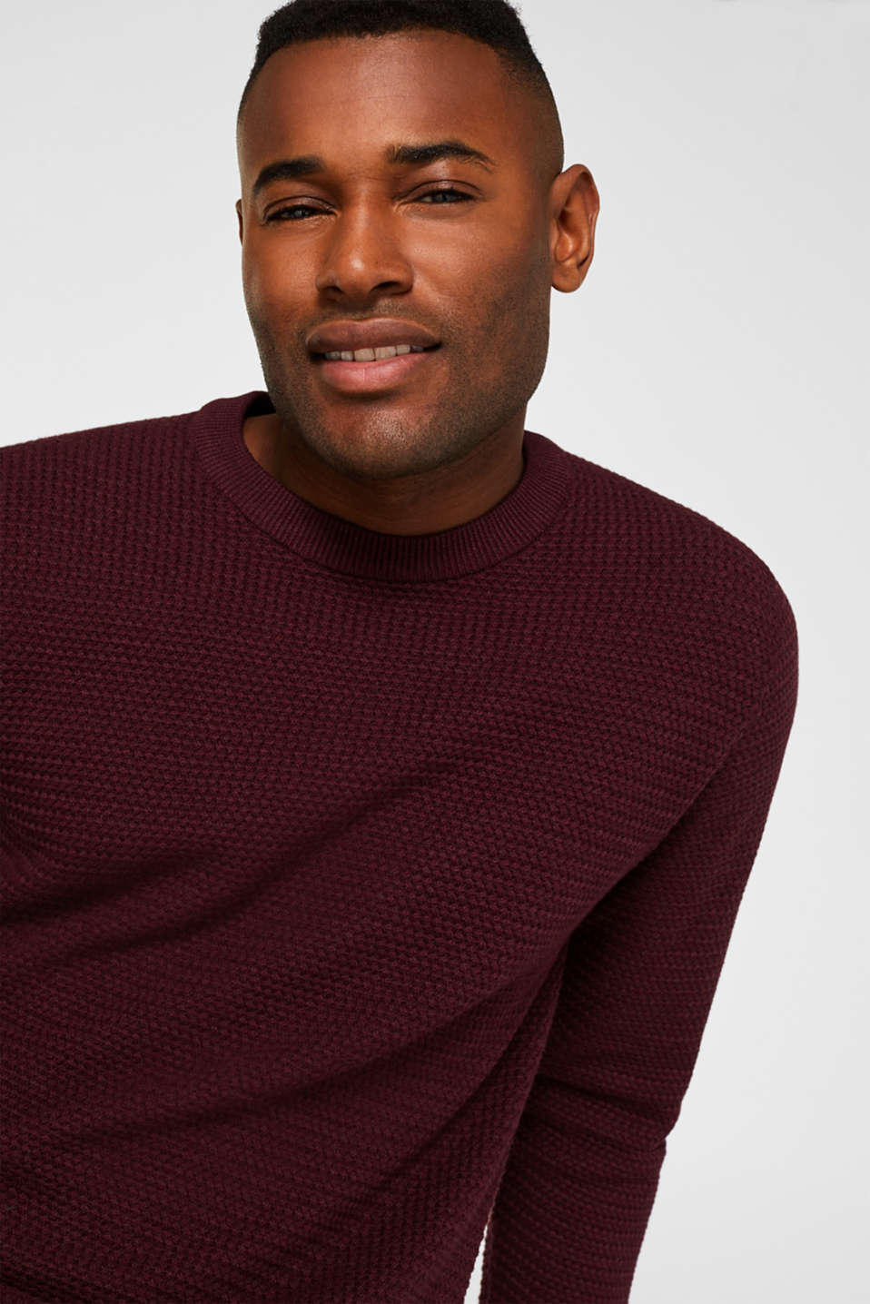 Textured jumper made of 100% cotton, BORDEAUX RED 5, detail image number 5