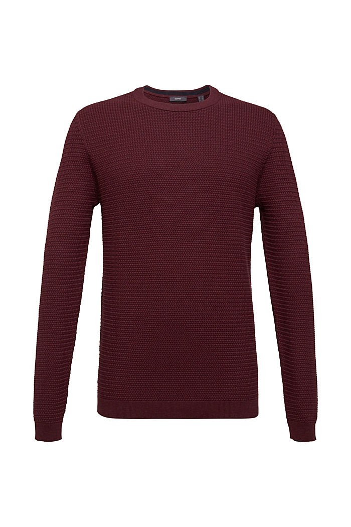 Textured jumper made of 100% cotton, BORDEAUX RED 5, detail image number 0