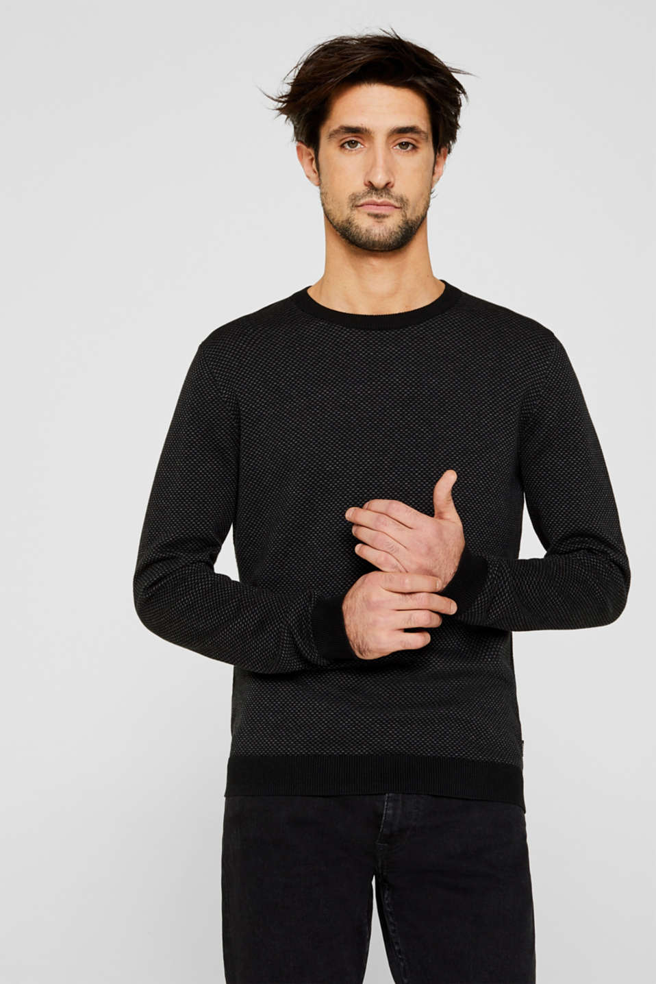 Jacquard jumper made of 100% cotton