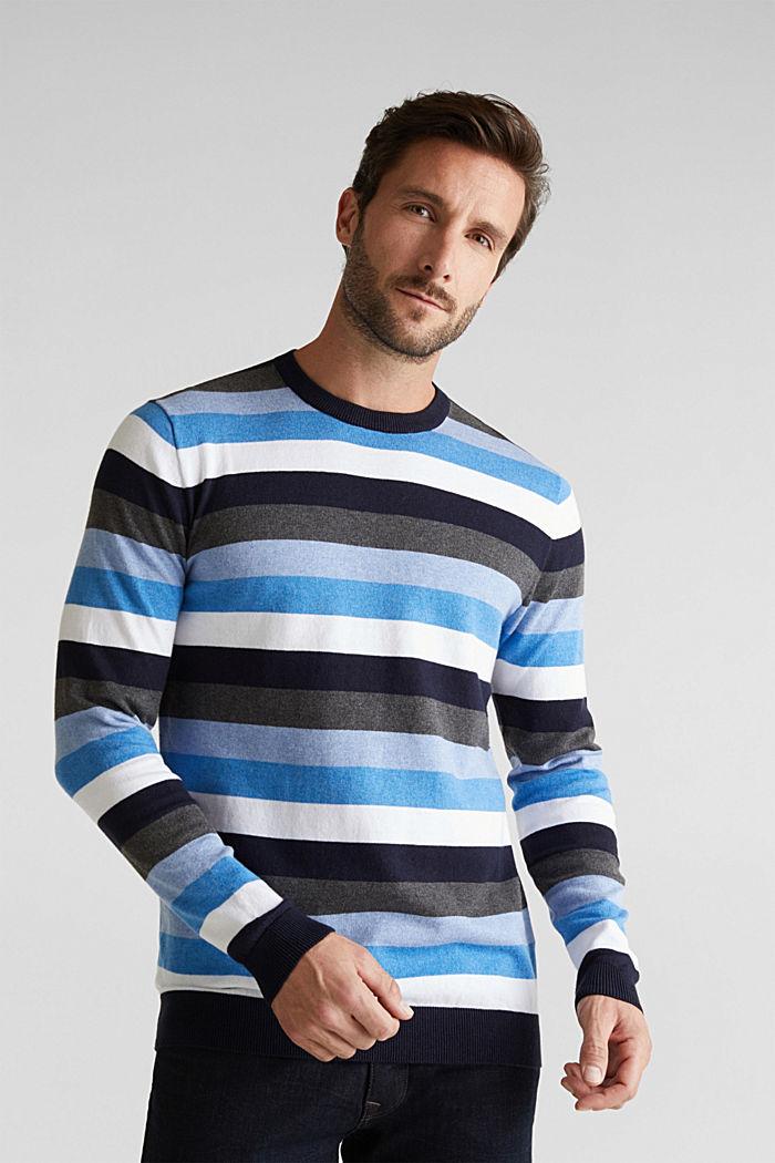 Gestreifter Pullover, 100% Baumwolle, BRIGHT BLUE, detail image number 0