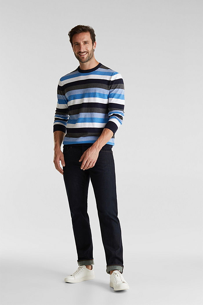 Gestreifter Pullover, 100% Baumwolle, BRIGHT BLUE, detail image number 1