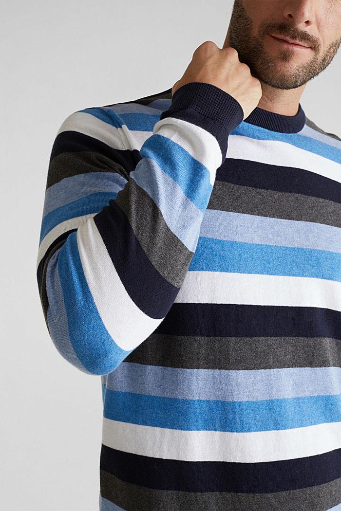 Gestreifter Pullover, 100% Baumwolle, BRIGHT BLUE, detail image number 2