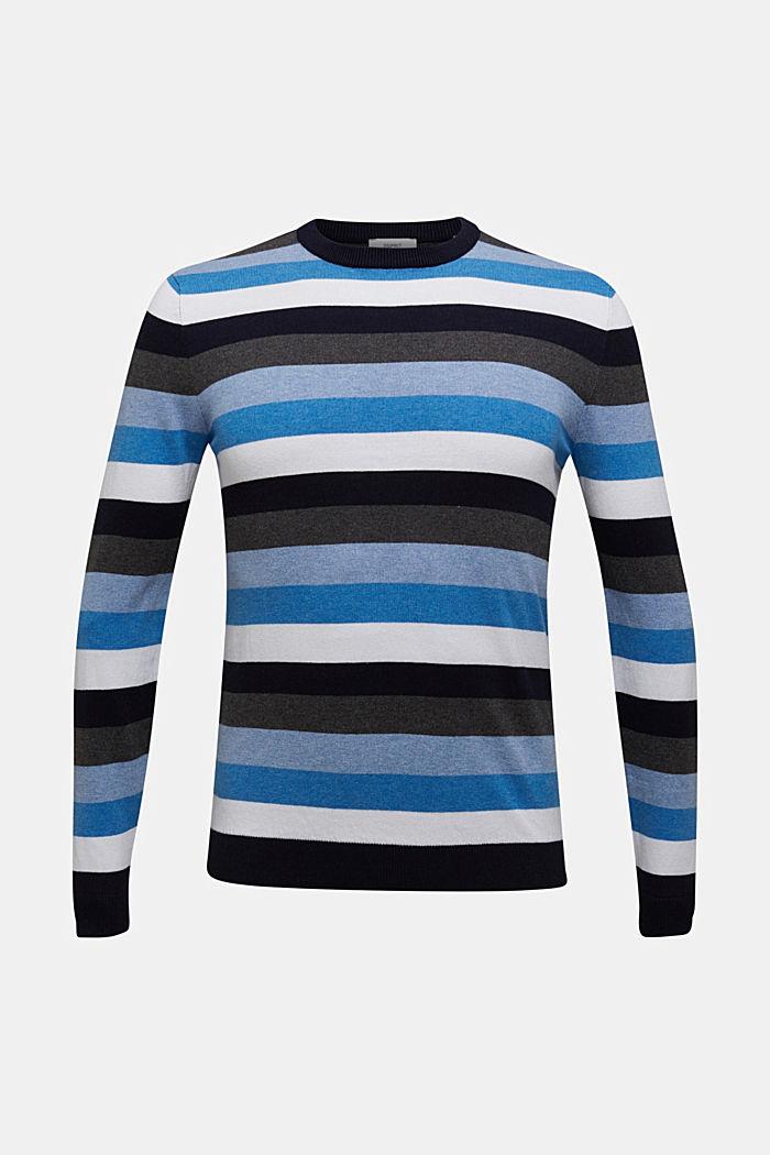 Gestreifter Pullover, 100% Baumwolle, BRIGHT BLUE, detail image number 6