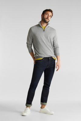 Mid-length zip jumper made of 100% cotton, GREY 5, detail