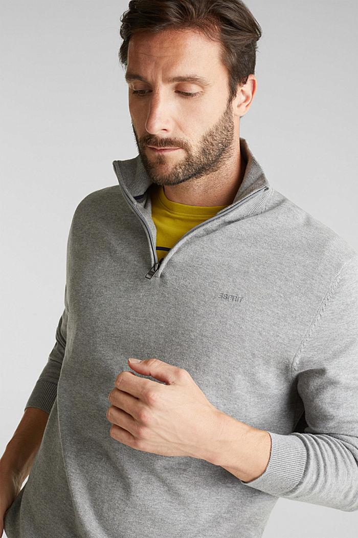 Half-Zip-Pullover aus 100% Baumwolle