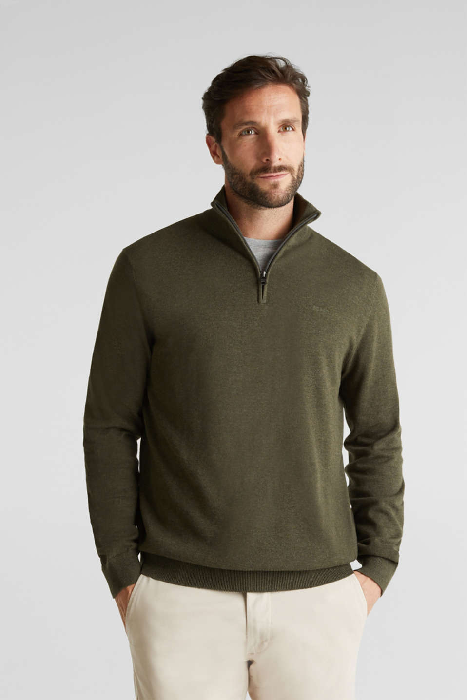 Mid-length zip jumper made of 100% cotton, DARK GREEN 5, detail image number 0