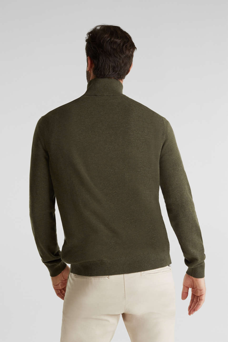 Mid-length zip jumper made of 100% cotton, DARK GREEN 5, detail image number 3