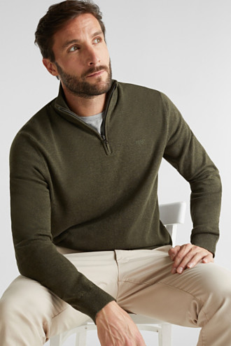 Mid-length zip jumper made of 100% cotton
