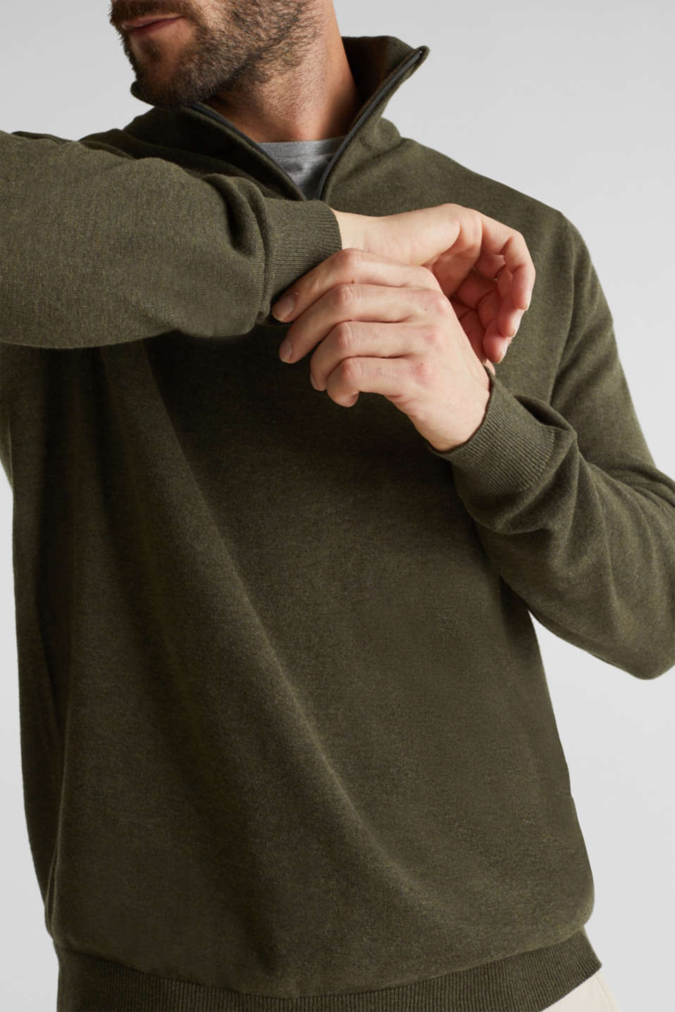 Mid-length zip jumper made of 100% cotton, DARK GREEN 5, detail image number 2