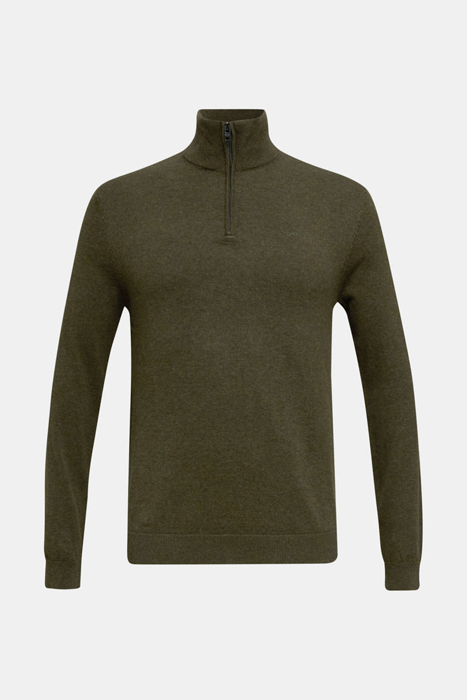 Mid-length zip jumper made of 100% cotton, DARK GREEN 5, detail image number 5