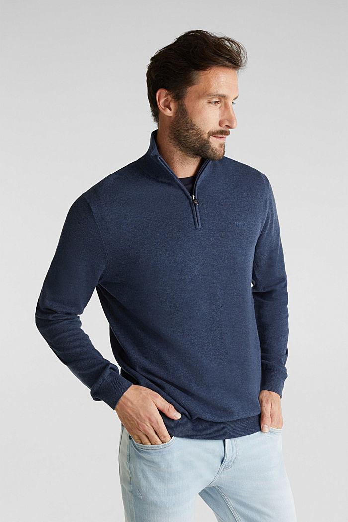 Mid-length zip jumper made of 100% cotton, DARK BLUE, detail image number 0