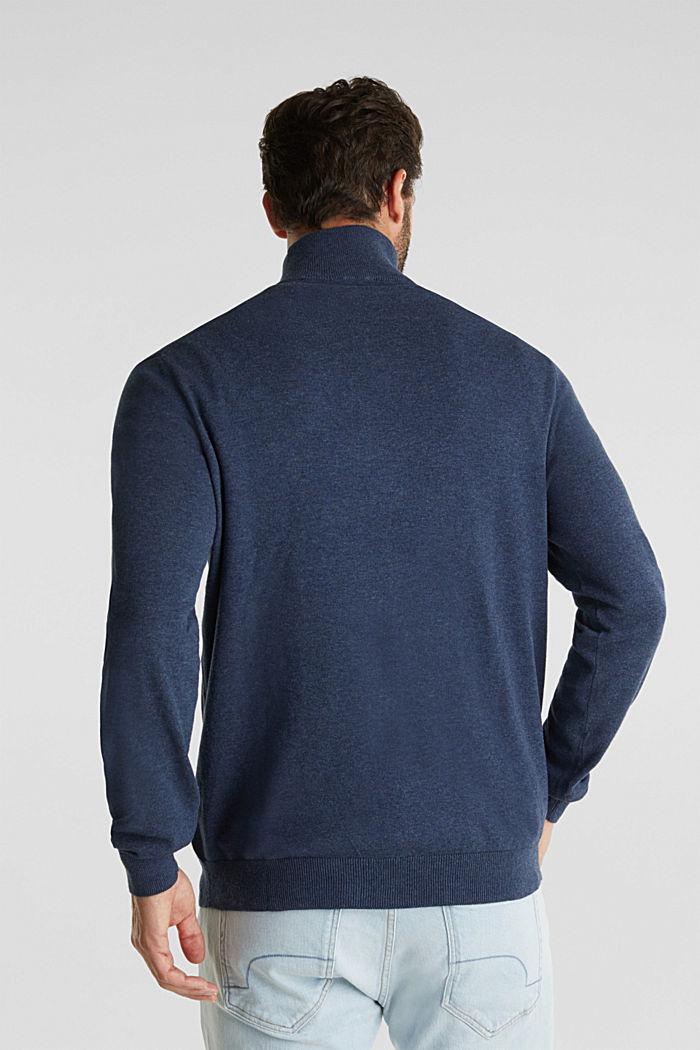 Mid-length zip jumper made of 100% cotton, DARK BLUE, detail image number 3
