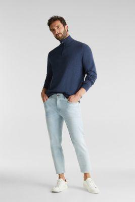 Mid-length zip jumper made of 100% cotton, DARK BLUE 5, detail