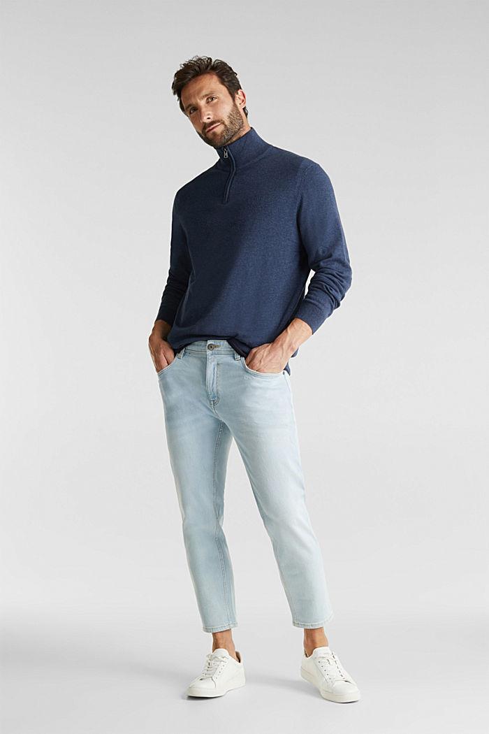 Mid-length zip jumper made of 100% cotton, DARK BLUE, detail image number 1