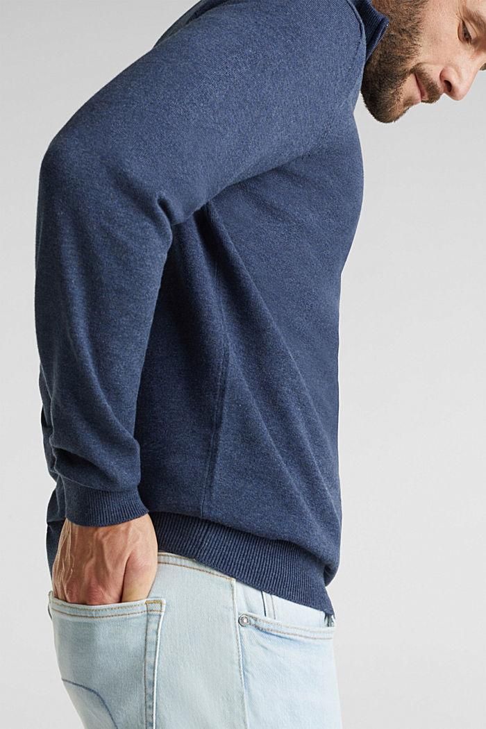 Mid-length zip jumper made of 100% cotton, DARK BLUE, detail image number 2