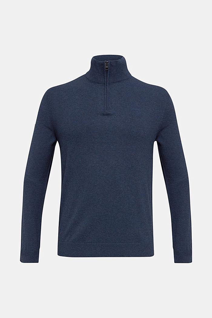 Mid-length zip jumper made of 100% cotton, DARK BLUE, detail image number 5