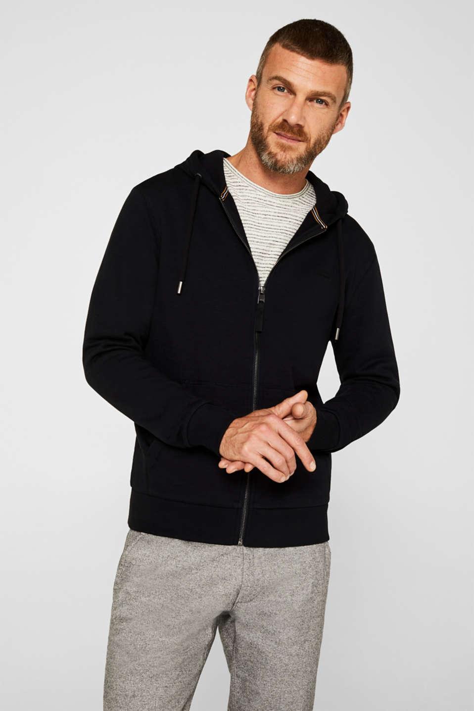 Sweatshirt cardigan with hood, 100% cotton, BLACK, detail image number 0