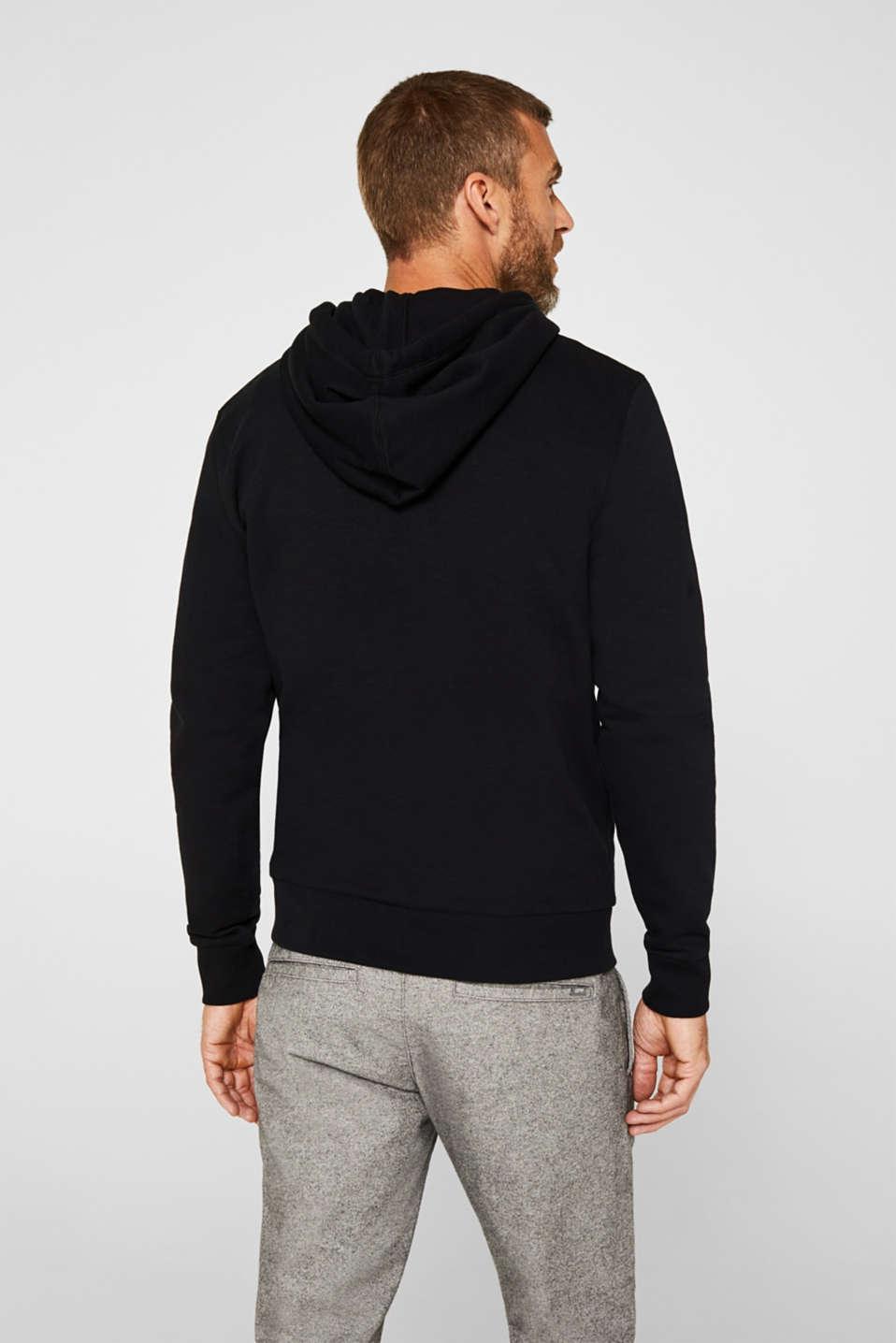 Sweatshirt cardigan with hood, 100% cotton, BLACK, detail image number 3